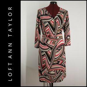 Ann Taylor Loft Woman Stretch Wrap Dress 10 Nwot